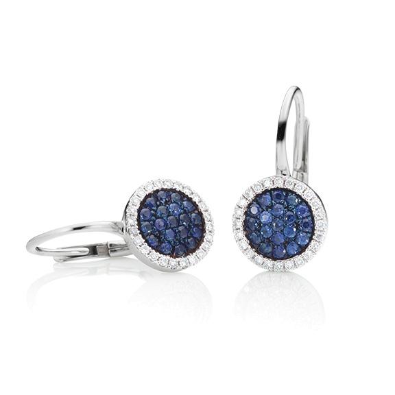 """Ohrhänger """"Dolcini"""" 750WG, Saphir blau ca. 0.31ct, 48 Diamanten Brillant-Schliff 0.15ct TW/vs"""