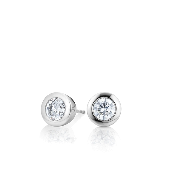"Ohrstecker ""Diamante in Amore"" 750WG Zargenfassung, 2 Diamanten Brillant-Schliff 0.40ct TW/vs1"