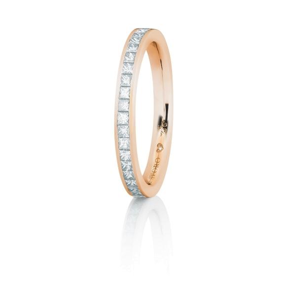 """Memoirering """"Diamante in Amore"""" 750RG, 23 Diamanten Princess-Schliff 0.45ct TW/vs1, 1 Diamant Brillant-Schliff 0.005ct TW/vs1"""