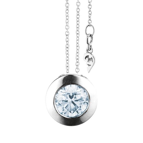 """Collier """"Diamante in Amore"""" 750WG Zargenfassung, 1 Diamant Brillant-Schliff 1.00ct TW/vs1 GIA Zertifikat, Länge 45.0 cm, Zwischenöse bei 42.0 cm"""