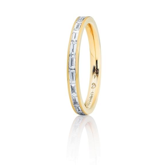 """Memoirering """"Diamante in Amore"""" 750GG, 12 Diamanten Baguette-Schliff 0.70ct TW/vs1, 1 Diamant Brillant-Schliff 0.005ct TW/vs1"""