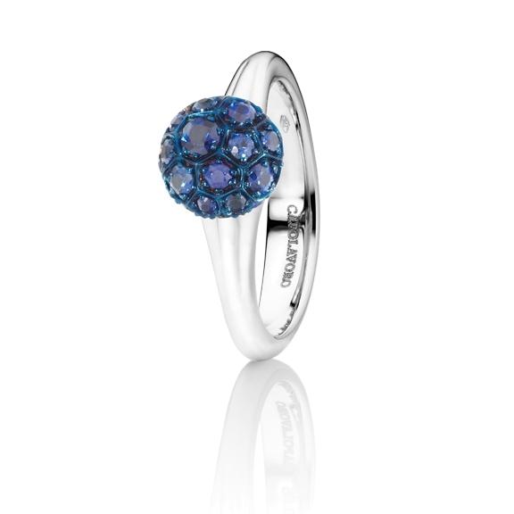 """Ring """"Fiore Magico"""" 750WG Carreaufassung, Saphir blau ca. 0.70ct"""