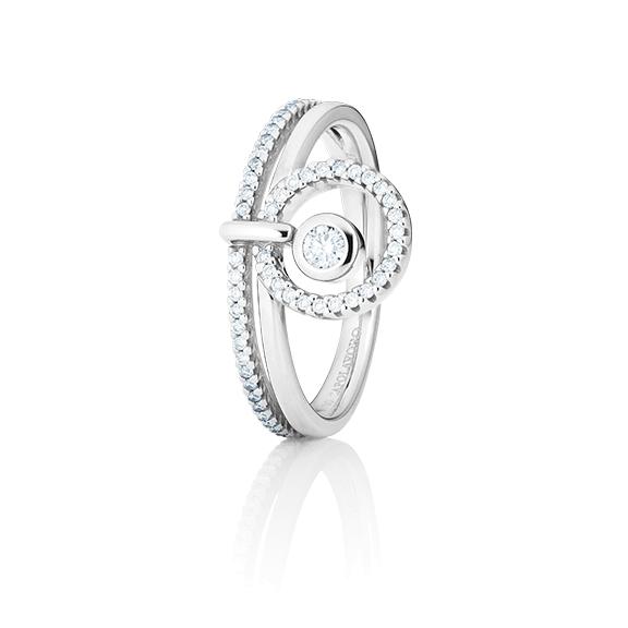 "Ring ""Glam Motion"" 750WG, 1 Diamant Brillant-Schliff 0.075ct TW/si, 56 Diamanten Brillant-Schliff 0.195ct TW/si"
