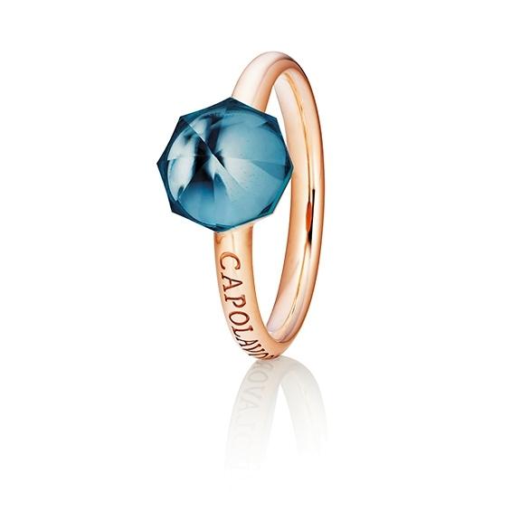 "Ring ""My Sunshine"" 750RG, Topas London blue Cabochon facettiert  8.90 x 8.90mm ca. 3.70ct, 1 Diamant Brillant-Schliff 0.004ct TW/vs1"