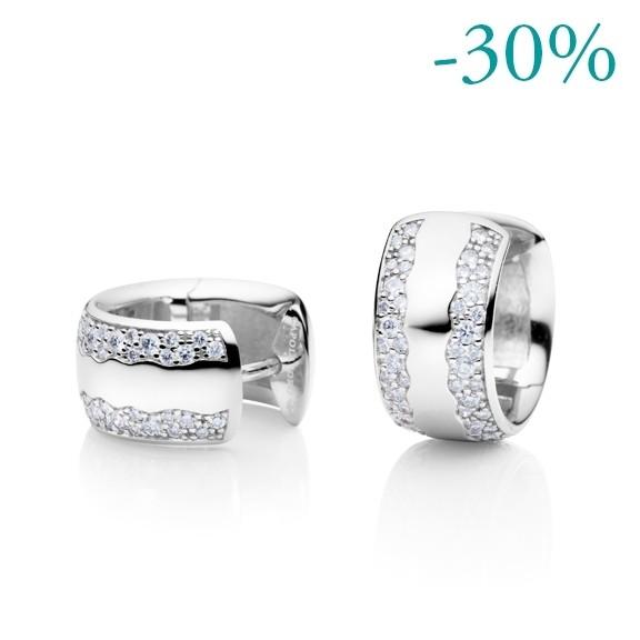 "Ohrcreole ""Amuleto"" 750WG, 96 Diamanten Brillant-Schliff 0.62ct TW/si"