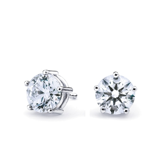 "Ohrstecker ""Diamante in Amore"" 750WG 5-er Krappe, 2 Diamanten Brillant-Schliff 1.0ct TW/vs1 IGI Zertifikat"