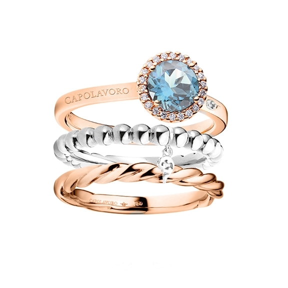 Ring Set 750RG/WG mit Topas sky blue und Diamanten