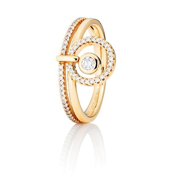 "Ring ""Glam Motion"" 750GG, 1 Diamant Brillant-Schliff 0.15ct TW/si, 48 Diamanten Brillant-Schliff 0.29ct TW/si"