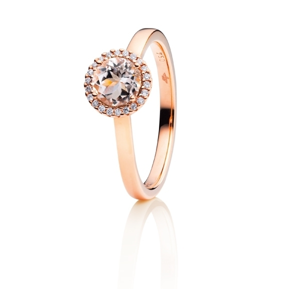 "Ring ""Espressivo"" 750RG, Morganit facettiert Ø 6.0 mm, 22 Diamanten Brillant-Schliff 0.08ct TW/si"