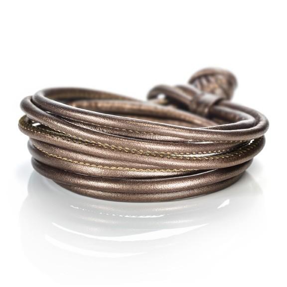 Armband Kalbsleder gold 4-reihig, Ø 3.0 mm, 42.0 cm