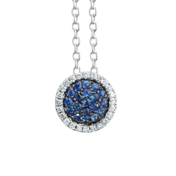 "Collier ""Dolcini"" 750WG, Saphir blau ca. 0.15ct, 24 Diamanten Brillant-Schliff 0.08ct TW/vs, Länge 45.0 cm"