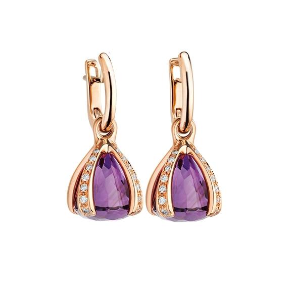 """Ohrcreolen """"Capriccio"""" 750RG, Amethyst medium  ca. 12.0ct, 28 Diamanten Brillant-Schliff 0.44ct TW/vs"""
