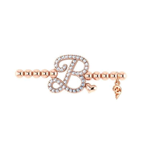 "Armband ""Poesia"" 750RG, Buchstabe ""B"", 44 Diamanten Brillant-Schliff 0.17ct TW/vs1, Innenumfang 17.0 cm"