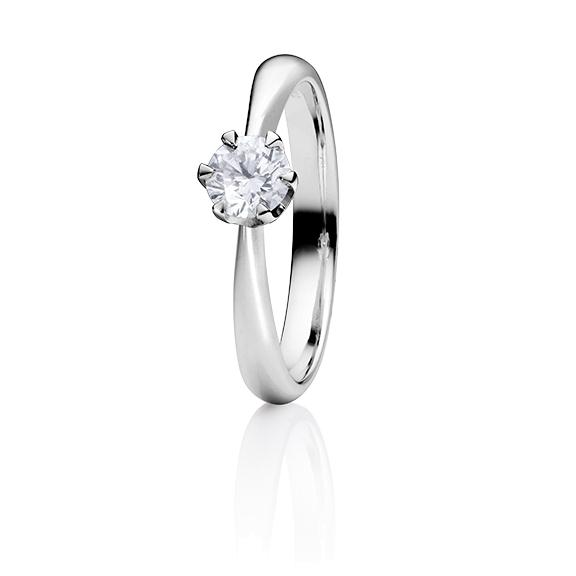 "Ring ""Classico"" 950 Platin 6-er Krappe, 1 Diamant Brillant-Schliff 0.50ct TW/si GIA Zertifikat"