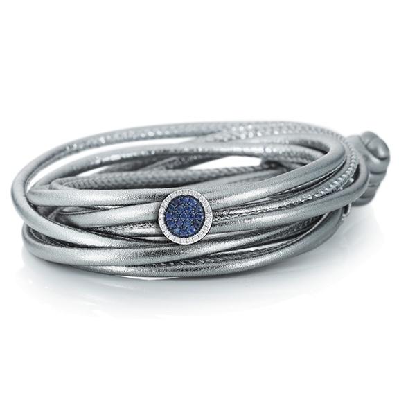 """Schmuckelement """"Dolcini"""" 750WG, Saphir blau ca. 0.15ct, 24 Diamanten Brillant-Schliff 0.08ct TW/vs"""