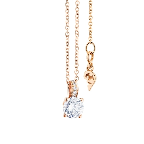 "Collier ""Diamante in Amore"" 750RG 4-er Krappe, Brillantschlaufe, 1 Diamant Brillant-Schliff 0.33ct TW/vs1, 5 Diamanten Brillant-Schliff 0.02ct TW/vs1, Länge 45.0 cm, Zwischenöse bei 42.0 cm"