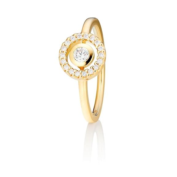 "Ring ""Glam Motion"" 750GG, 1 Diamant Brillant-Schliff 0.15ct TW/si, 18 Diamanten Brillant-Schliff 0.10ct TW/si"