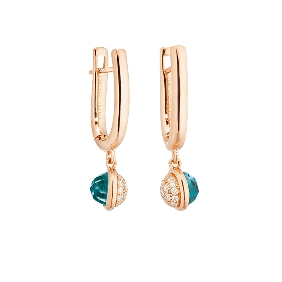 "Ohrhänger ""Velluto"" 750RG, Topas London blue facettiert Ø 5.0 mm, 38 Diamanten Brillant-Schliff 0.10ct TW/vs1"