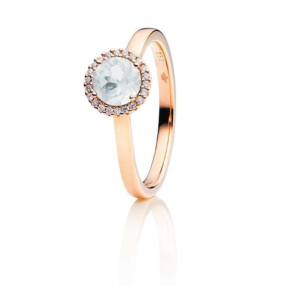"Ring ""Espressivo"" 750RG, Bergkristall facettiert Ø 6.0 mm, 22 Diamanten Brillant-Schliff 0.08ct TW/si"