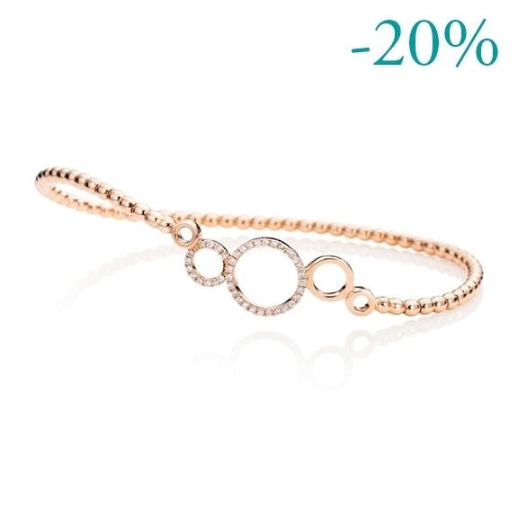"Armband ""Rotondo"" 750RG, 41 Diamanten Brillant-Schliff 0.15ct TW/si, Innenumfang 17.0 cm"