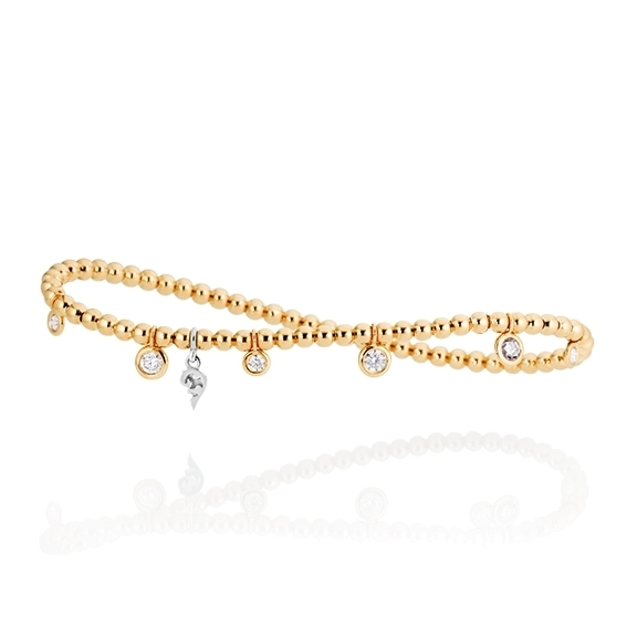 """Armband """"Prosecco"""" 750GG, 7 Diamanten Brillant-Schliff 0.50ct TW/vs, Innenumfang 17.0 cm"""