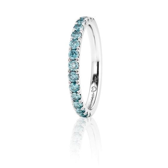 "Memoirering ""Diamante in Amore"" 750WG, 15 Diamanten Brillant-Schliff 0.60ct sky-blue beh., 1 Diamant Brillant-Schliff 0.005ct TW/vs1"