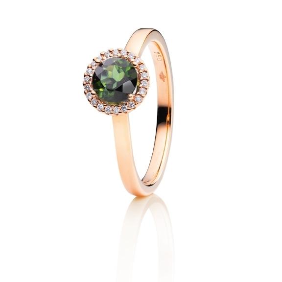 "Ring ""Espressivo"" 750RG, Turmalin grün facettiert Ø 6.0 mm ca. 0.90ct, 22 Diamanten Brillant-Schliff 0.06ct TW/si"