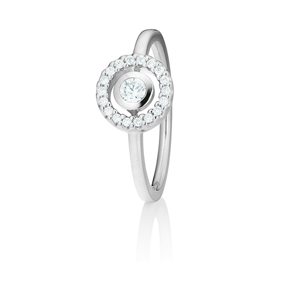 "Ring ""Glam Motion"" 750WG, 1 Diamant Brillant-Schliff 0.15ct TW/si, 18 Diamanten Brillant-Schliff 0.10ct TW/si"