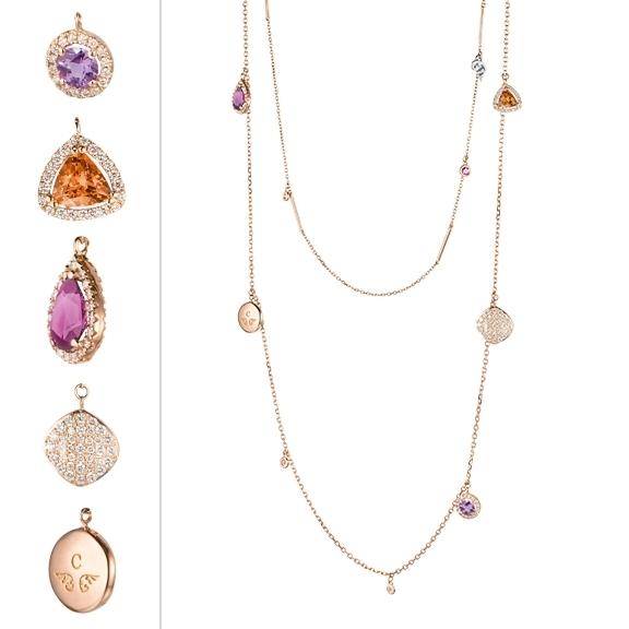 "Collier ""Espressivo Highlight Luxus"" 750RG, Amethyst Ø 4.0 ca. 0.20ct,Royal purple Granat Tropfen ca. 0.80ct + Ø2.3 ca. 0.05ct, Mandarin Granat Trillion 5x5mm ca. 0.50ct + Ø2.3 ca. 0.07ct, Diamanten Brillant-Schliff 0.96ct TW/vs1"