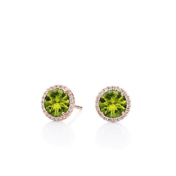 "Ohrstecker ""Espressivo"" 750RG, Peridot facettiert Ø 6.0 mm, 44 Diamanten Brillant-Schliff 0.12ct TW/si"