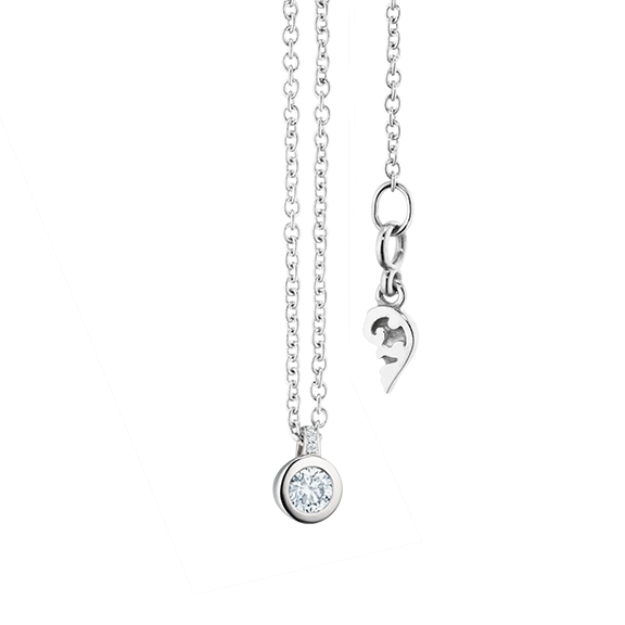 "Collier ""Diamante in Amore"" 750WG Zargenfassung, Brillantschlaufe, 1 Diamant Brillant-Schliff 0.05ct TW/vs1, 3 Diamanten Brillant-Schliff 0.005ct TW/vs1, Länge 45.0 cm, Zwischenöse bei 42.0 cm"
