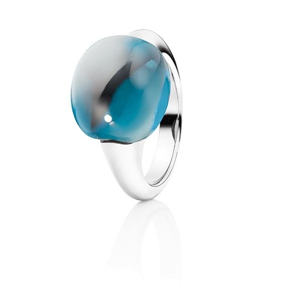 "Ring ""Tramonto"" 750WG, Topas London blue Cabochon ca. 19.0ct"