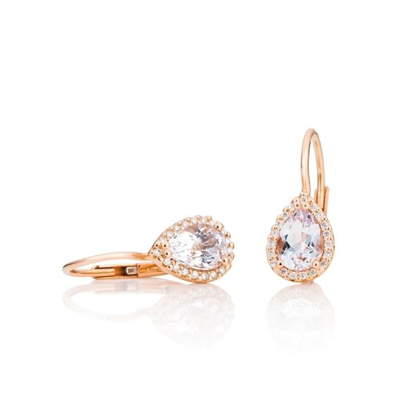 "Ohrhänger ""Espressivo"" 750RG, Morganit Tropfen 7.5 x 5.0 mm ca. 1.20ct, 38 Diamanten Brillant-Schliff 0.12ct TW/si"