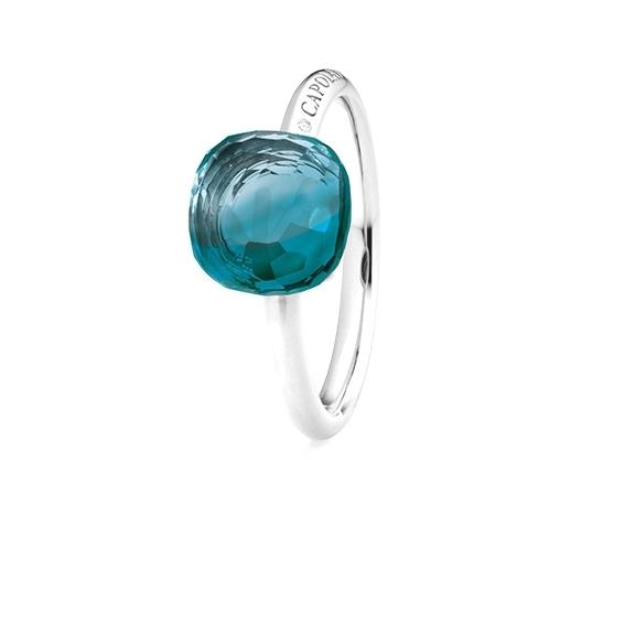 "Ring ""Happy Holi"" 750WG, Topas London blue Cabochon  9.0 x 9.0 mm facettiert ca. 5.20ct, 1 Diamant Brillant-Schliff 0.004ct TW/vs1"