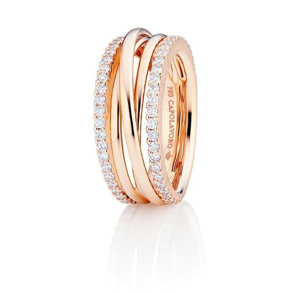 """Ring """"Magnifico"""" 750RG, 58 Diamanten Brillant-Schliff 0.82ct TW/si"""