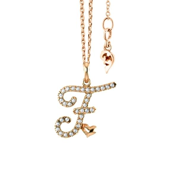 """Anhänger """"Poesia"""" 750GG, Buchstabe """"F"""", 34 Diamanten Brillant-Schliff 0.12ct TW/vs"""