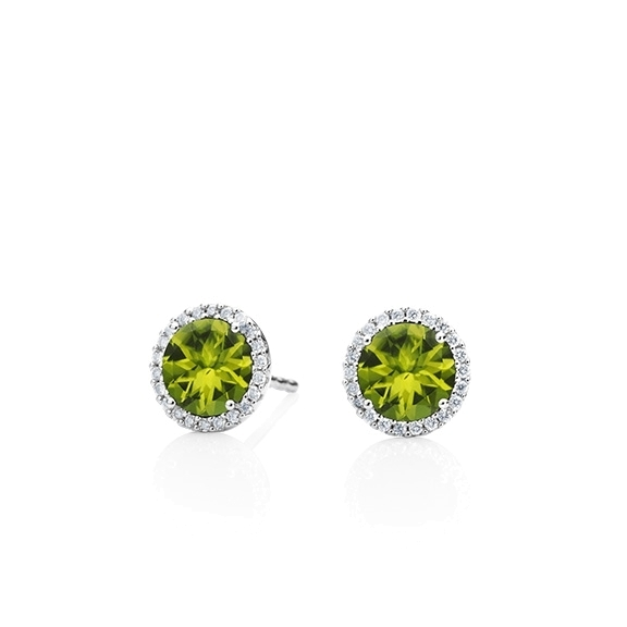 "Ohrstecker ""Espressivo"" 750WG, Peridot facettiert Ø 6.0 mm, 44 Diamanten Brillant-Schliff 0.12ct TW/si"