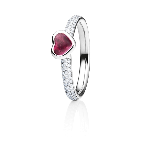 "Ring ""Pure Love"" 750RG Herz, Turmalin pink Cabochon 5.6 x 4.8 mm ca. 0.50ct, 80 Diamanten Brillant-Schliff 0.24ct TW/vs"
