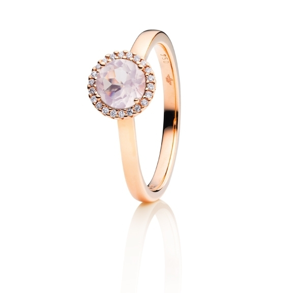 "Ring ""Espressivo"" 750RG, Rosenquarz milky facettiert Ø 6.0 mm, 22 Diamanten Brillant-Schliff 0.06ct TW/si"
