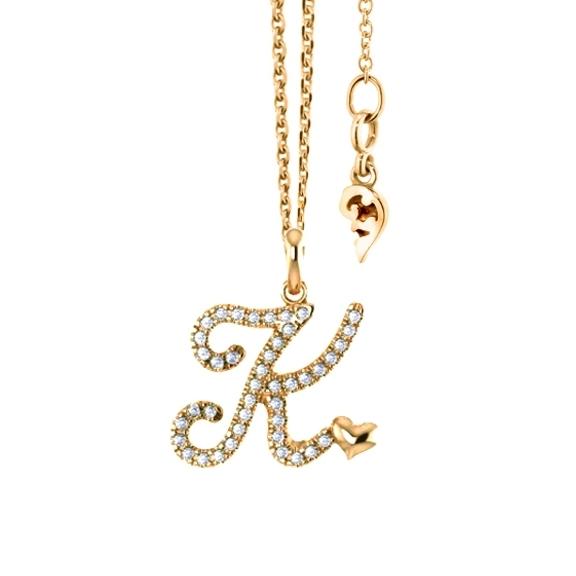 """Anhänger """"Poesia"""" 750GG, Buchstabe """"K"""", 42 Diamanten Brillant-Schliff 0.15ct TW/vs"""
