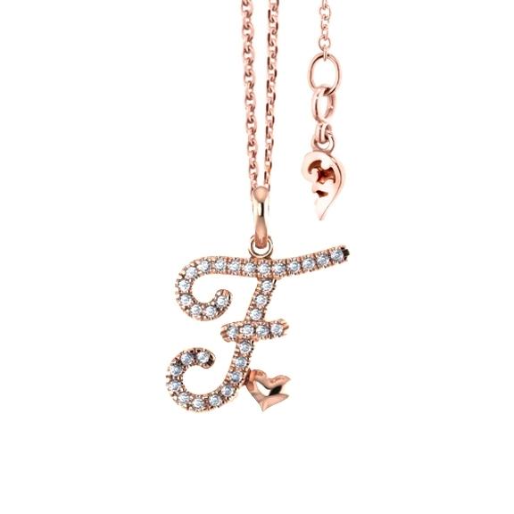 """Anhänger """"Poesia"""" 750RG, Buchstabe """"F"""", 34 Diamanten Brillant-Schliff 0.12ct TW/vs"""