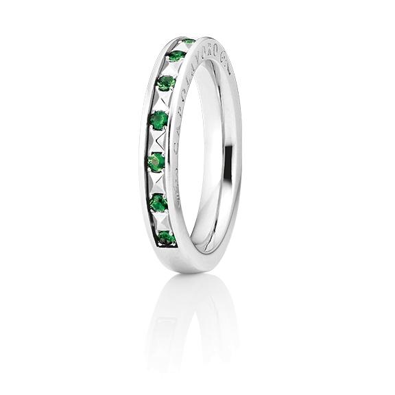 "Ring ""Manhattan"" 750WG, 10 Tsavorite facettiert ca. 0.23ct"