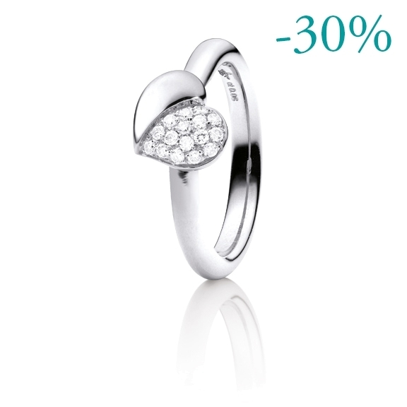 "Ring ""Fiori e Cuori"" 750WG, 16 Diamanten Brillant-Schliff 0.18ct TW/vs"