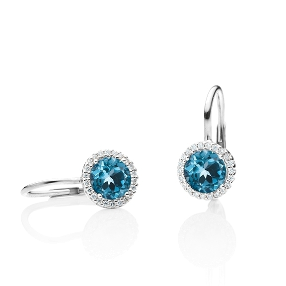 "Ohrhänger ""Espressivo"" 750WG, Topas London blue facettiert Ø 6.0 mm ca. 1.80ct, 44 Diamanten Brillant-Schliff 0.12ct TW/si1"