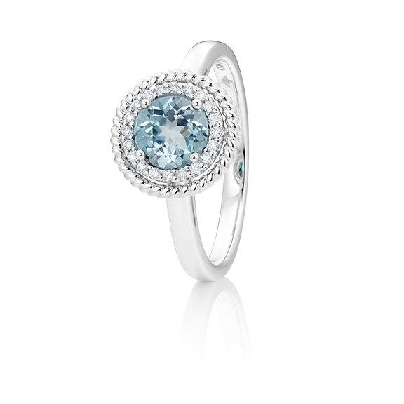 "Ring ""Amore mio"" 750WG, Topas sky blue facettiert Ø 6.0 mm ca. 1.00ct, 20 Diamanten Brillant-Schliff 0.08ct TW/si"