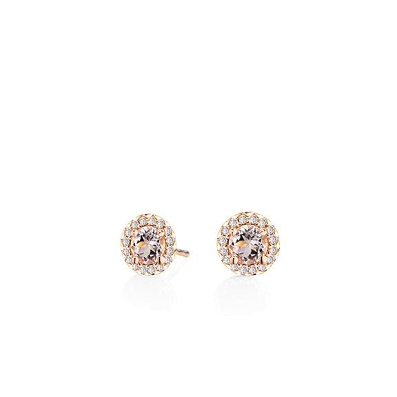 "Ohrstecker ""Espressivo"" 750RG Morganit facettiert Ø 4.0 mm ca. 0.40ct, 32 Diamanten Brillant-Schliff 0.08ct TW/si"