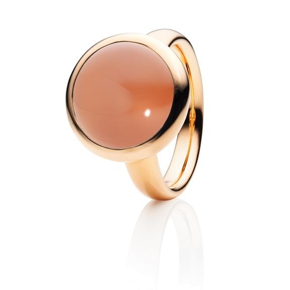"""Ring """"Velluto"""" 750RG, Mondstein orange Cabochon Ø 14.0 mm ca. 10.0ct"""