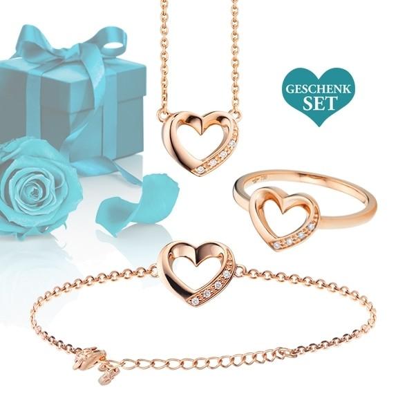 """Geschenkset """"Heart"""", Armband, Ring und Halskette 750RG, 12 Diamanten Brillant-Schliff"""