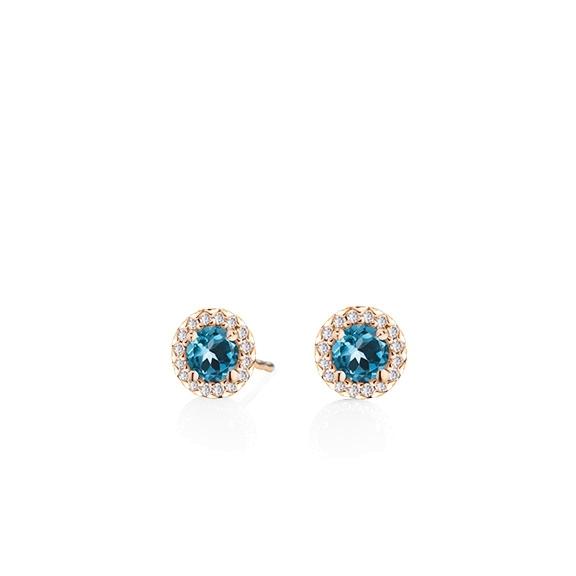 "Ohrstecker ""Espressivo"" 750RG Topas London blue facettiert Ø 4.0 mm ca. 0.40ct, 32 Diamanten Brillant-Schliff 0.08ct TW/si"