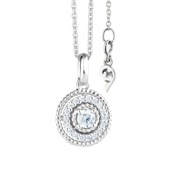 """Anhänger """"Amore mio"""" 750WG, 19 Diamanten Brillant-Schliff 0.20ct TW/si"""